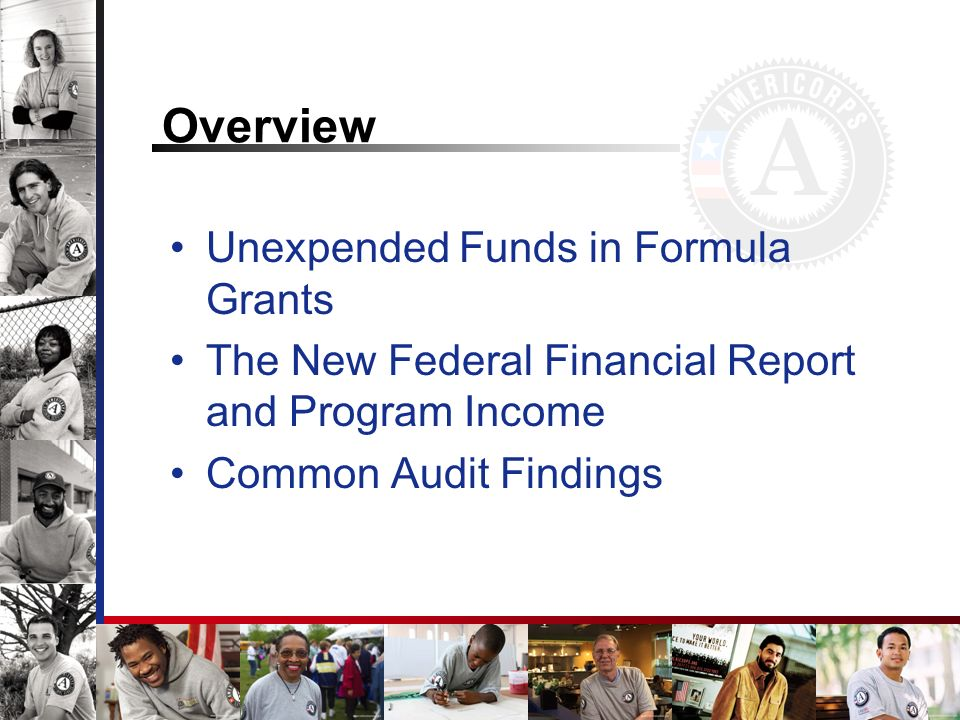 Overview Unexpended Funds in Formula Grants