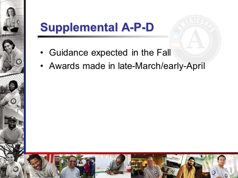 Supplemental A-P-D Guidance expected in the Fall