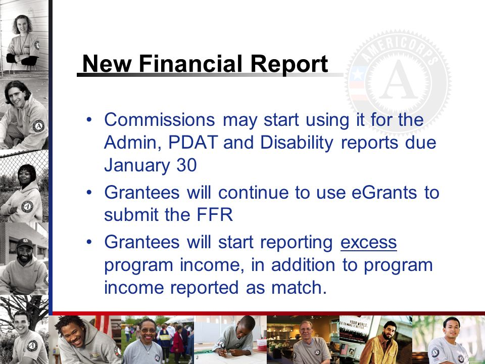 New Financial Report Commissions may start using it for the Admin, PDAT and Disability reports due January 30.