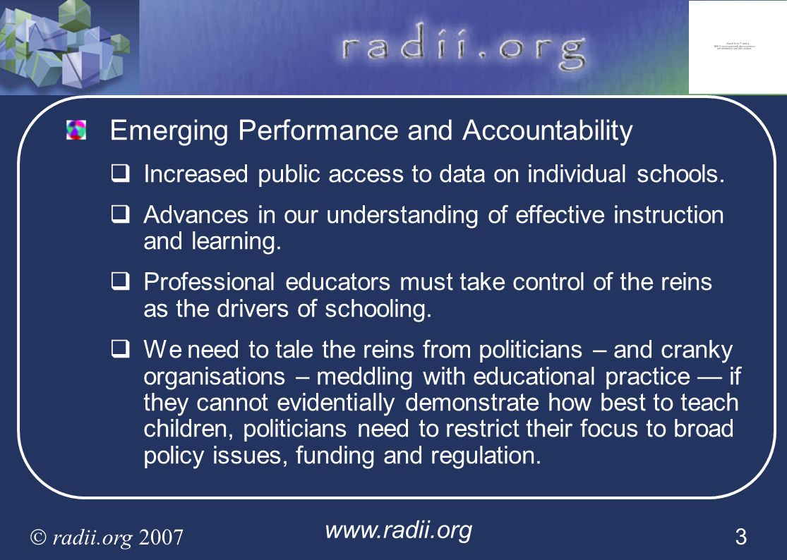 Emerging Performance and Accountability