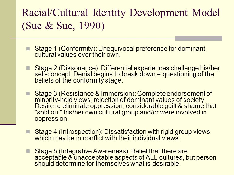 racial cultural identity development model