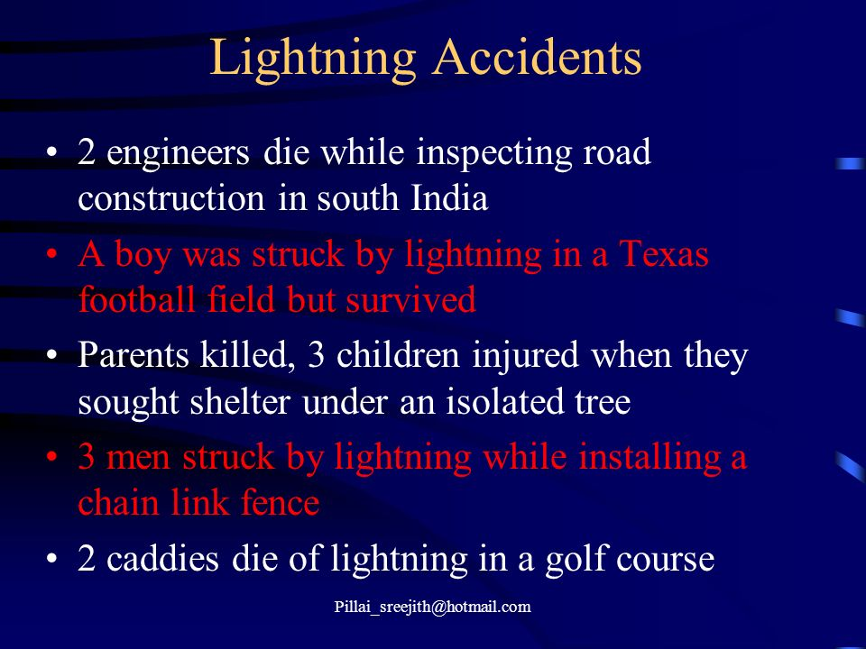 Lightning Accidents 2 engineers die while inspecting road construction in south India.
