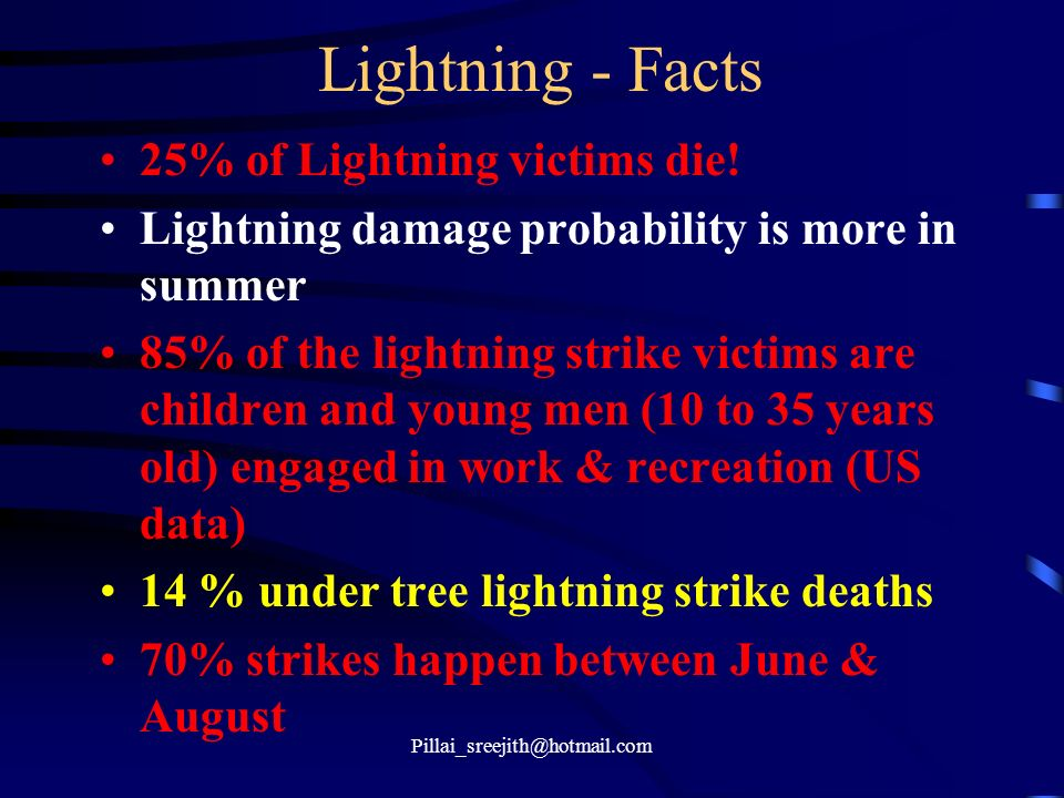 Lightning - Facts 25% of Lightning victims die!