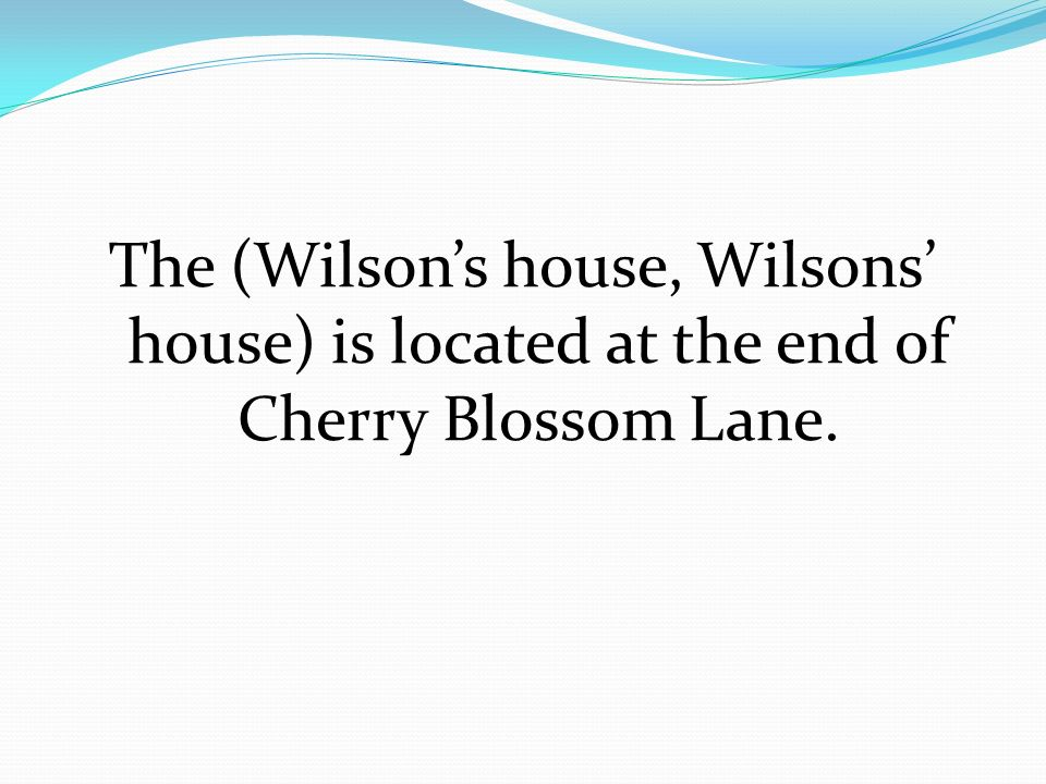 The (Wilson's house, Wilsons' house) is located at the end of Cherry Blossom Lane.