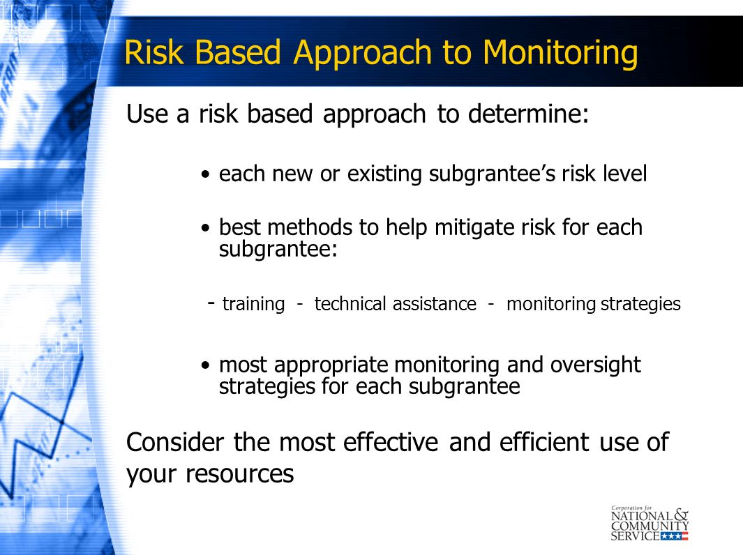 Risk Based Approach to Monitoring