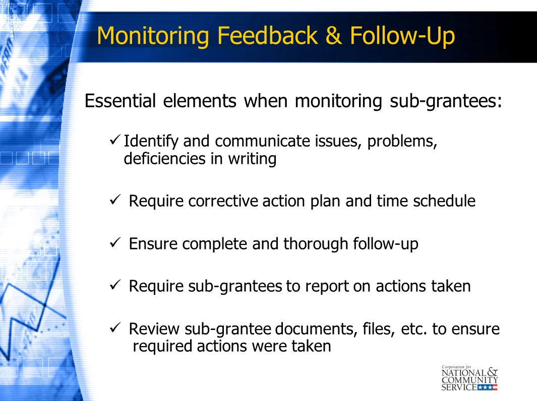 Monitoring Feedback & Follow-Up