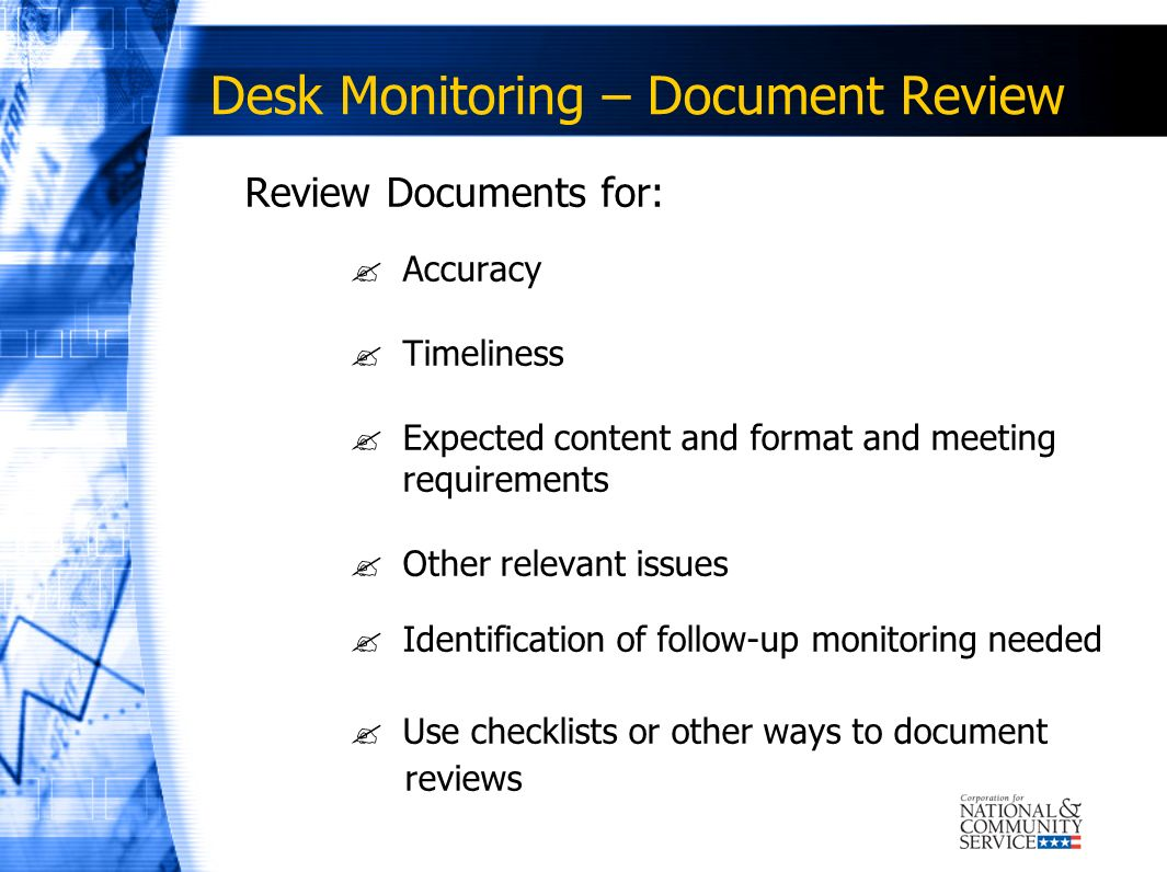 Desk Monitoring – Document Review