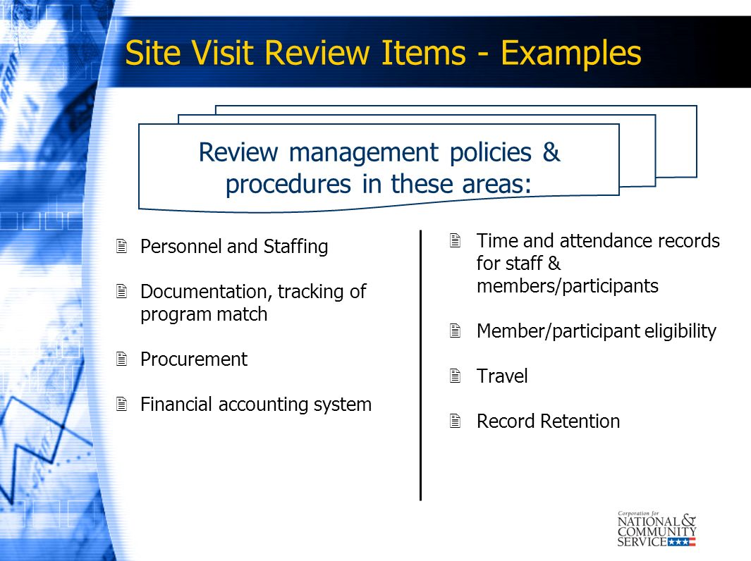 Site Visit Review Items - Examples