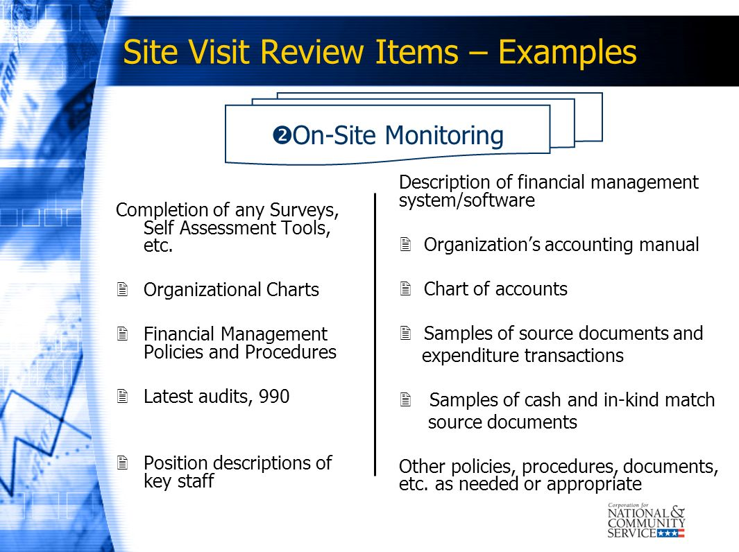 Site Visit Review Items – Examples