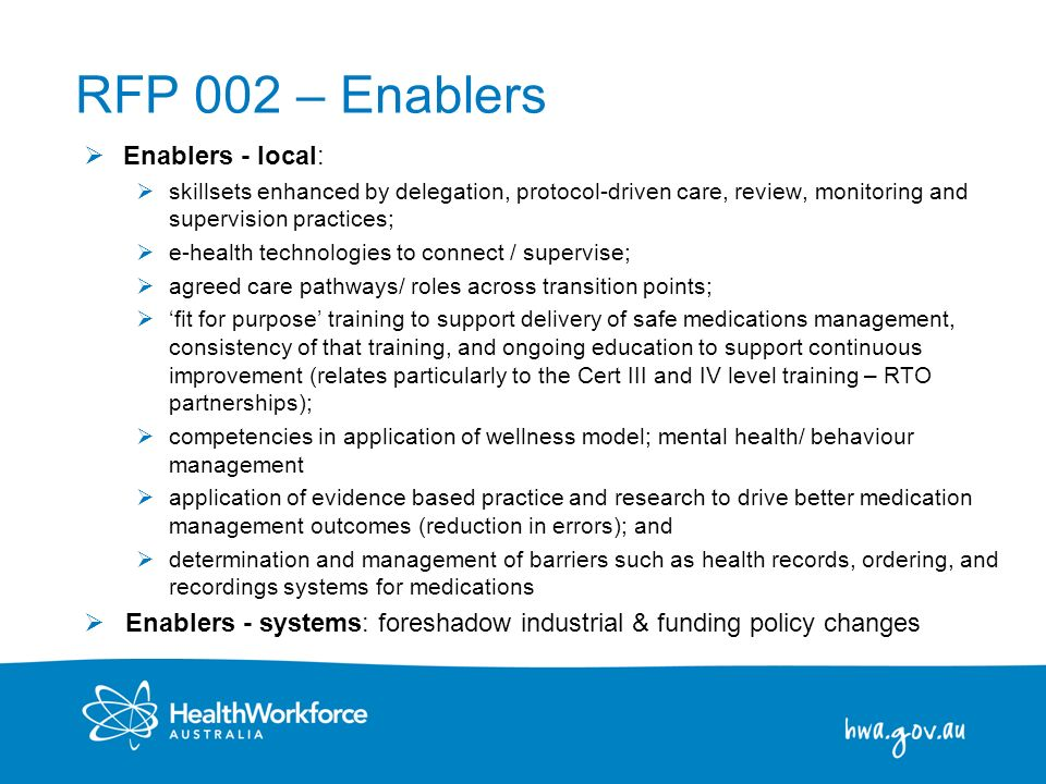 RFP 002 – Enablers Enablers - local: