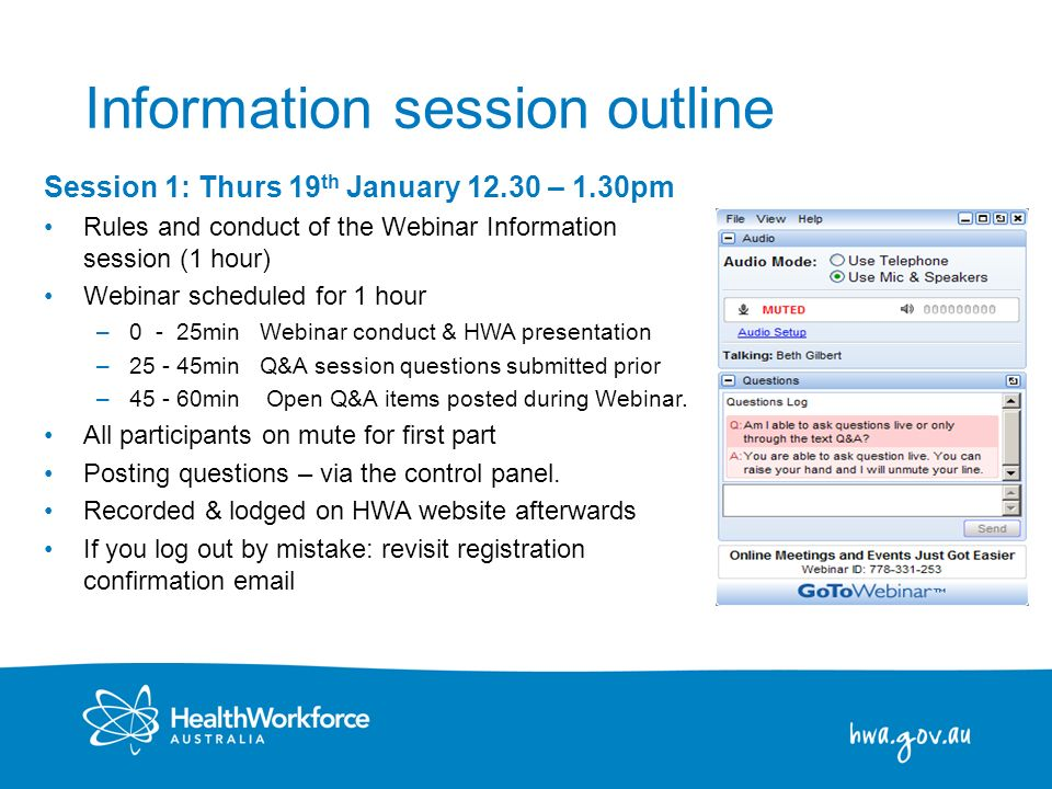 Information session outline