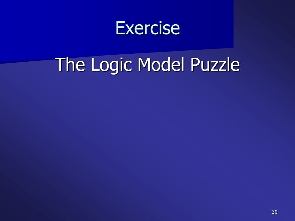 Exercise The Logic Model Puzzle