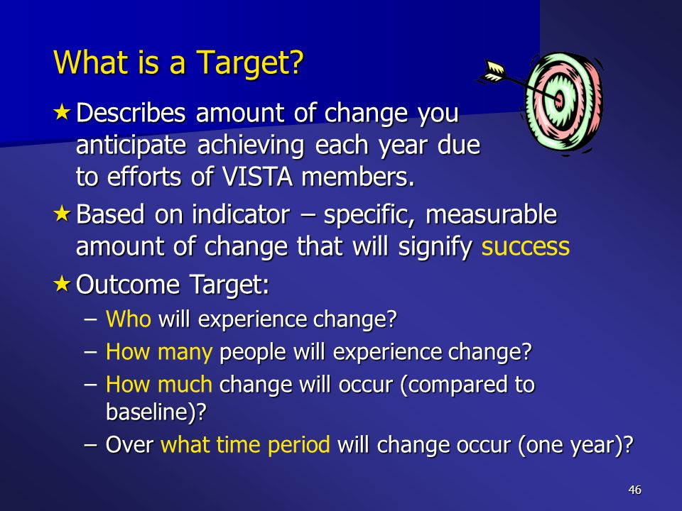 What is a Target Describes amount of change you anticipate achieving each year due to efforts of VISTA members.