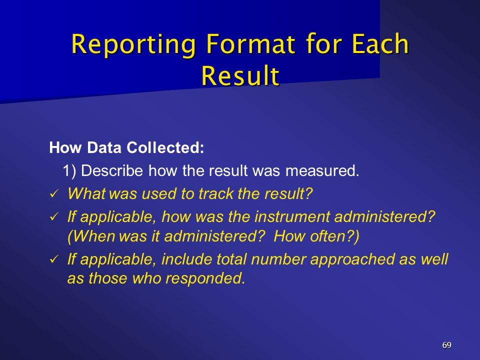 Reporting Format for Each Result