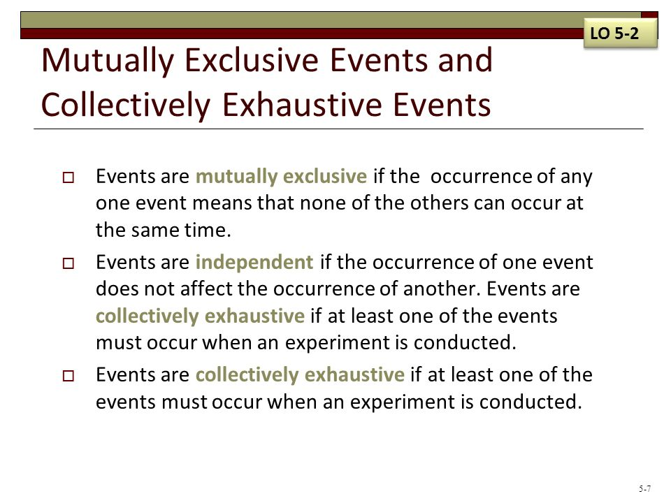 What Does Mutually Exclusive Events Mean