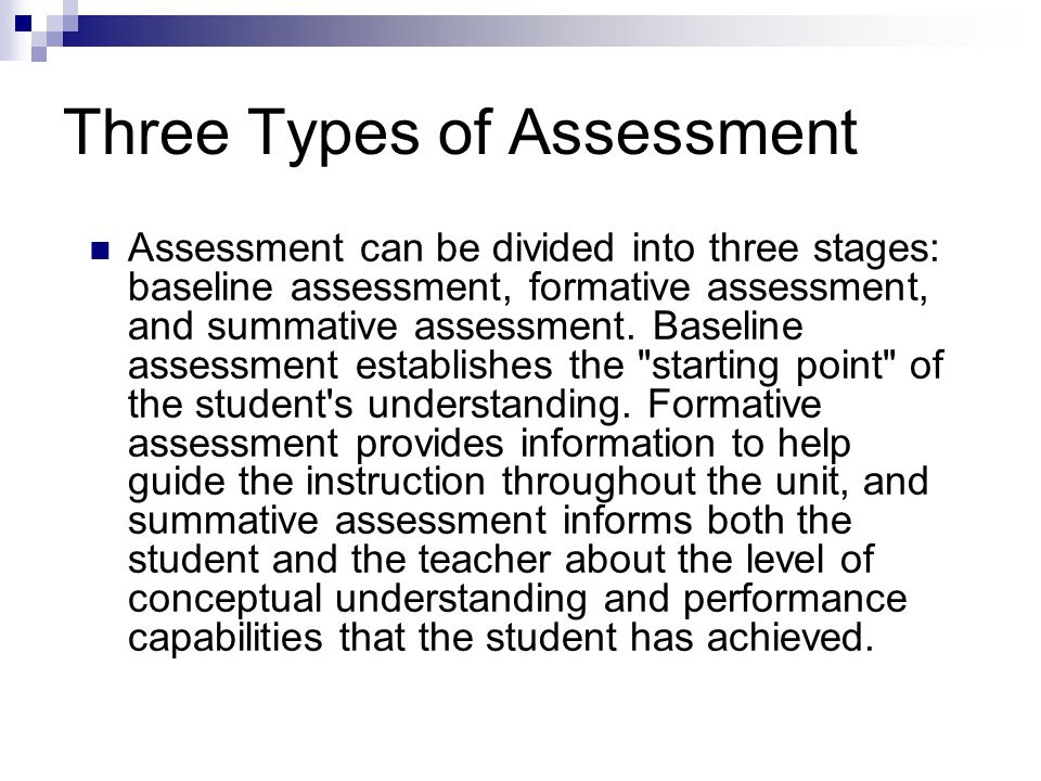 Three Types of Assessment