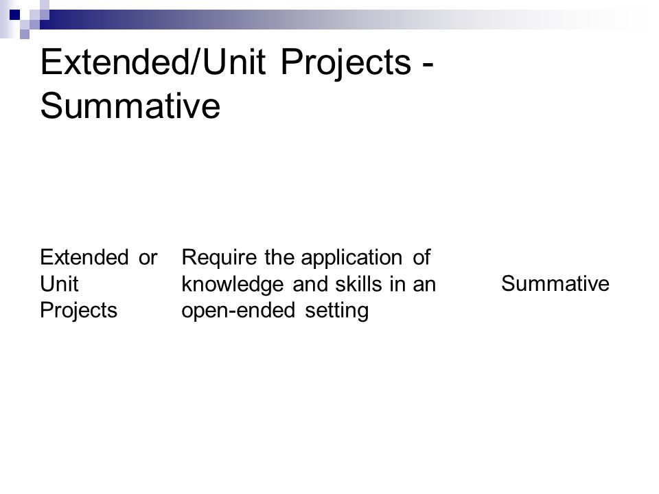 Extended/Unit Projects - Summative