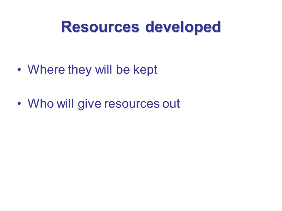 Resources developed Where they will be kept