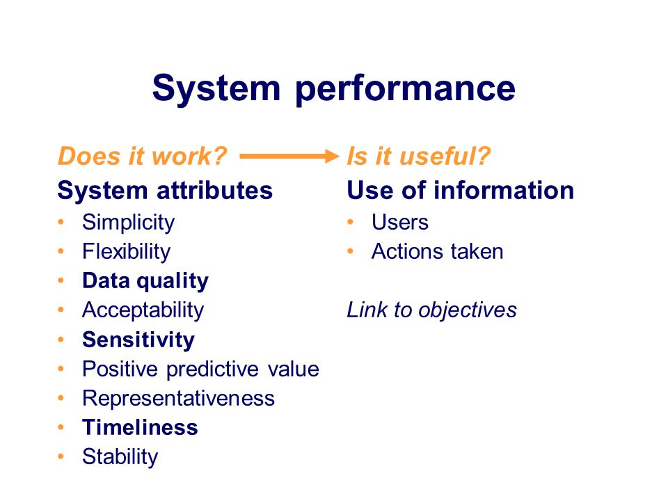 System performance Does it work System attributes Is it useful