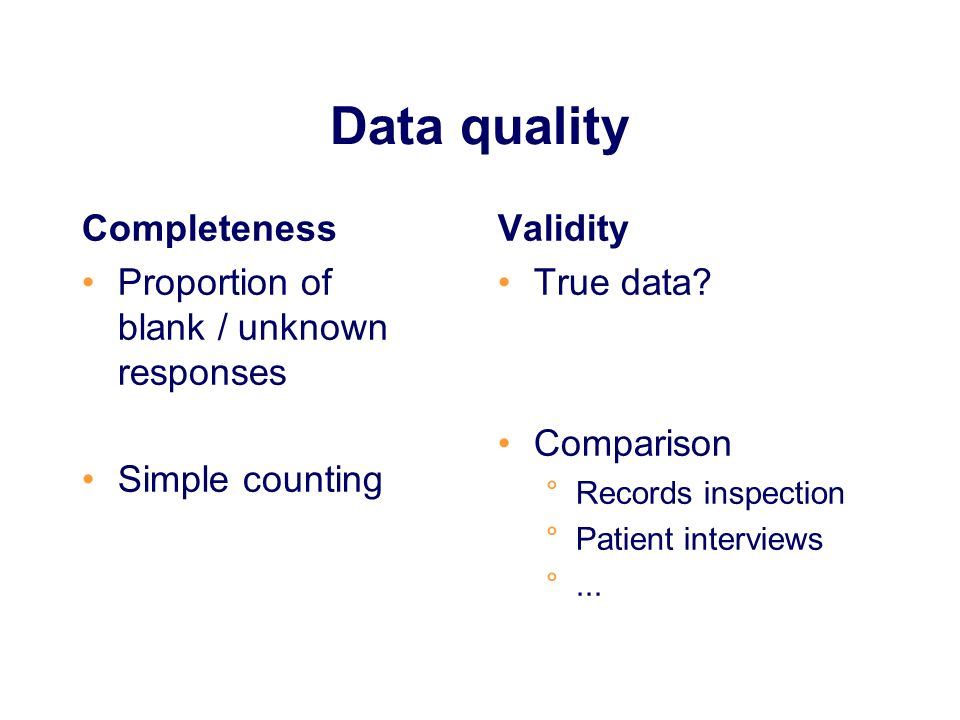 Data quality Completeness Proportion of blank / unknown responses