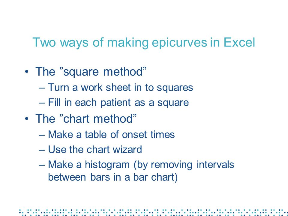 Two ways of making epicurves in Excel