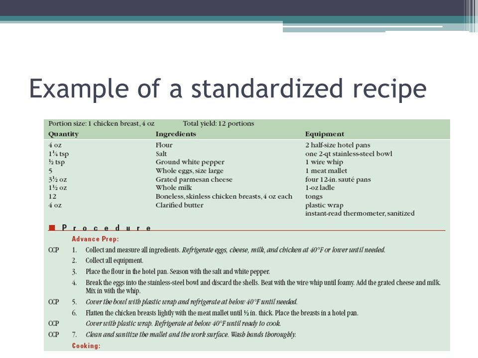 Part Two Using Standardized Recipes Ppt Video Online Download