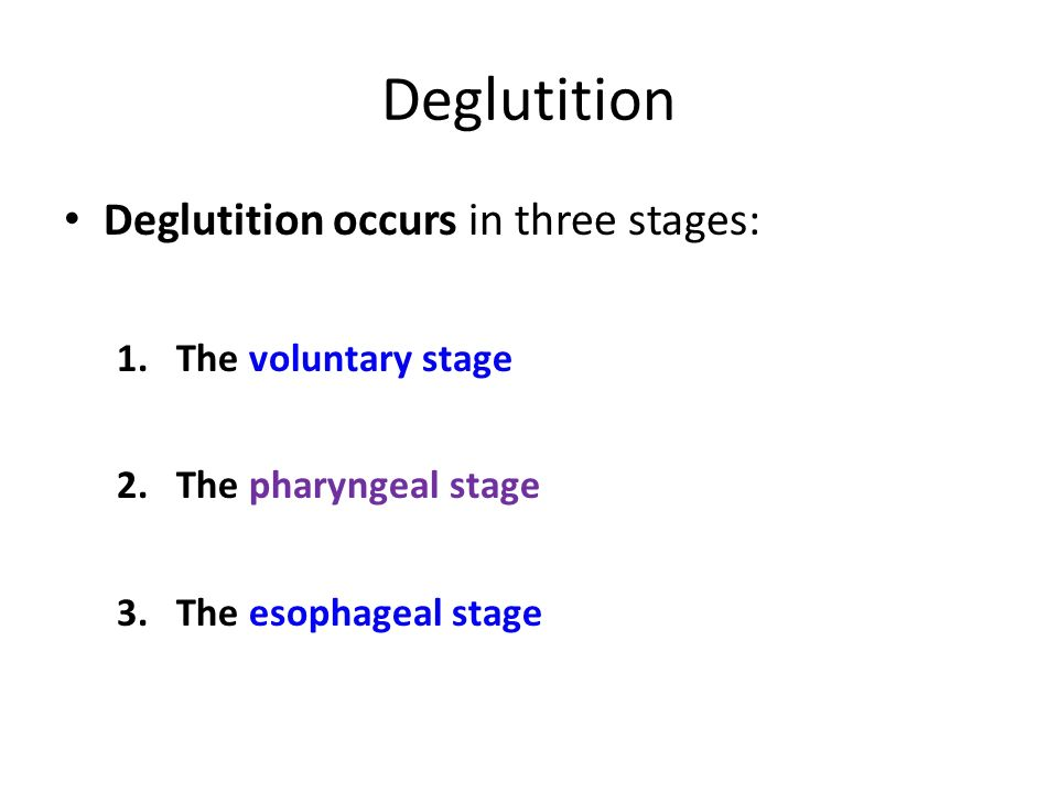 Deglutition Deglutition occurs in three stages: The voluntary stage