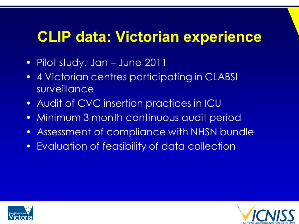 CLIP data: Victorian experience