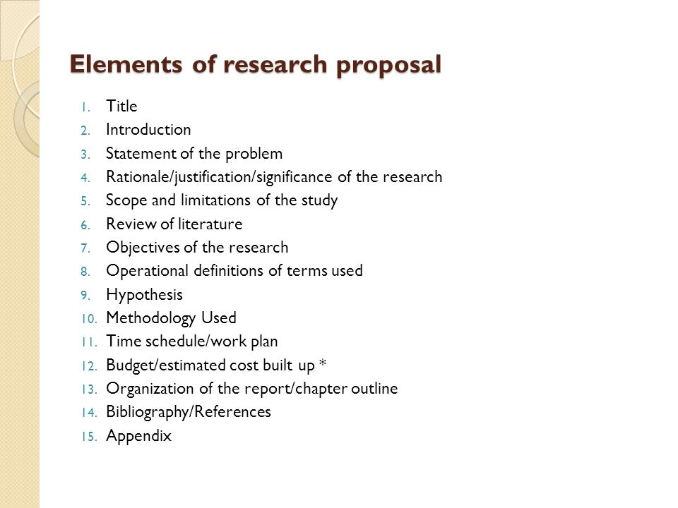 statement of the problem in a research proposal
