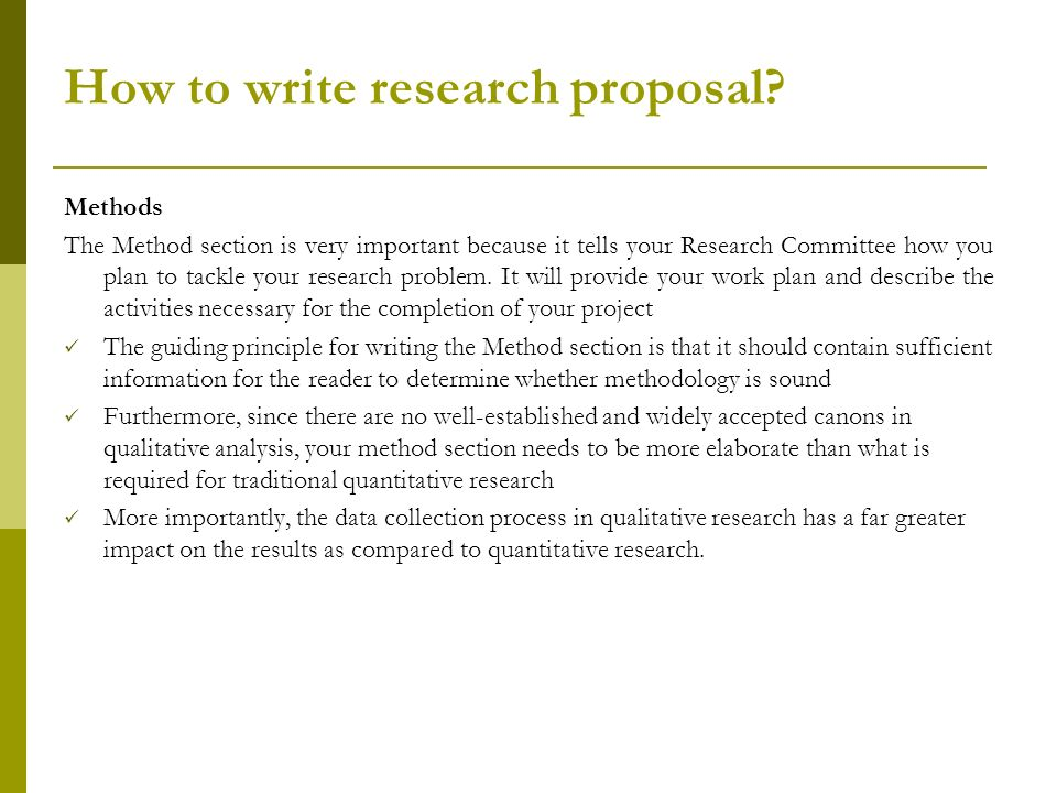 research proposal method