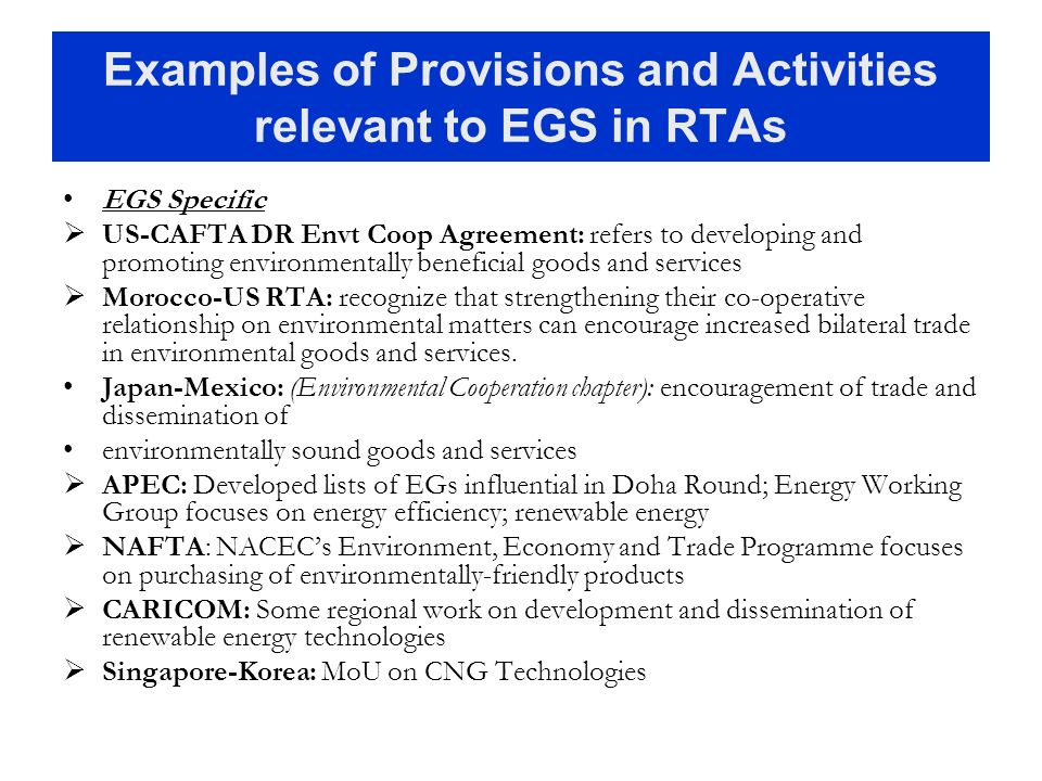 Examples of Provisions and Activities relevant to EGS in RTAs