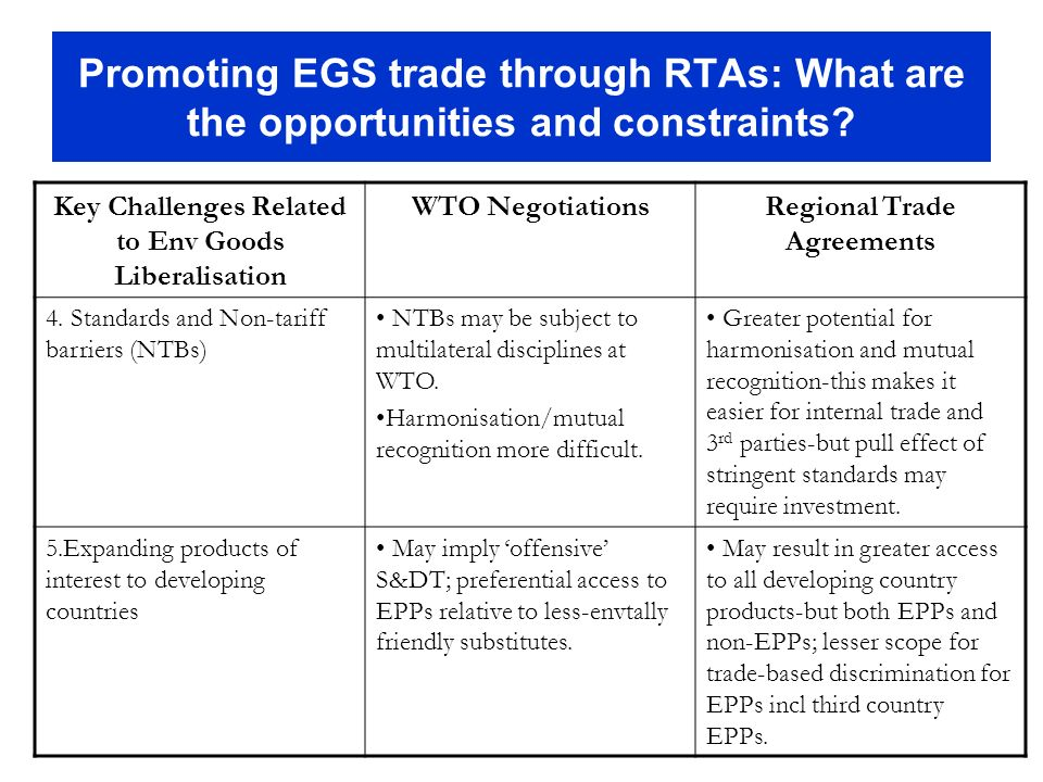 Promoting EGS trade through RTAs: What are the opportunities and constraints