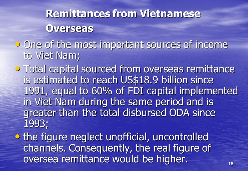 Remittances from Vietnamese Overseas