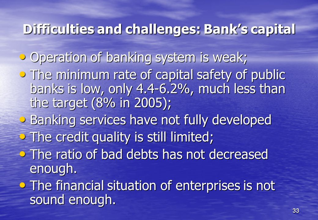 Difficulties and challenges: Bank's capital