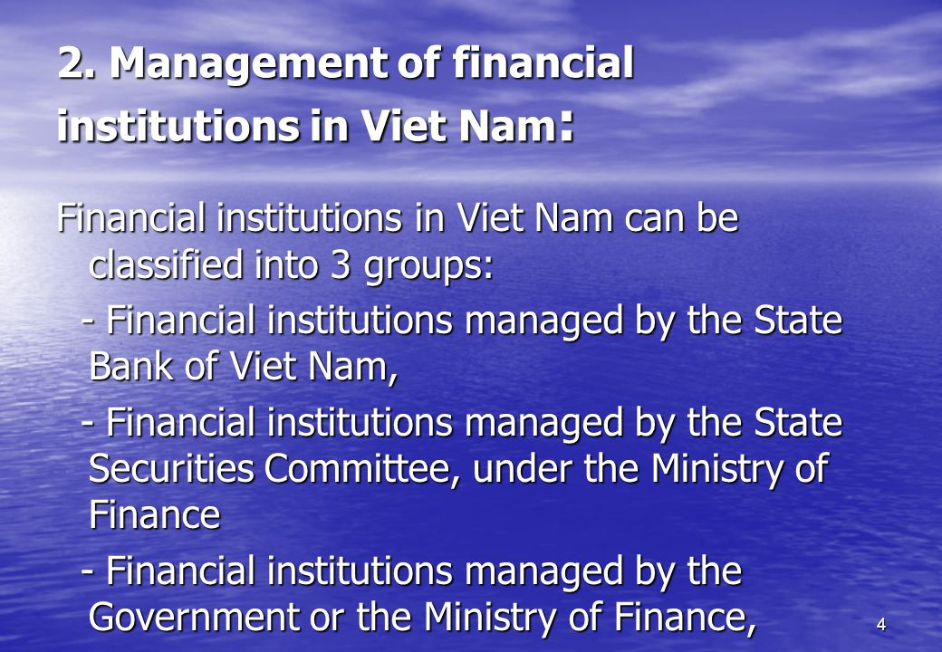 2. Management of financial institutions in Viet Nam: