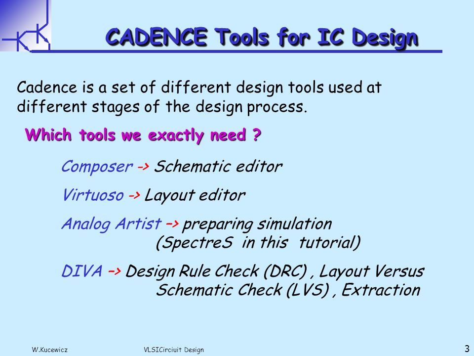 Vtvt vlsi design: cadence tutorial.