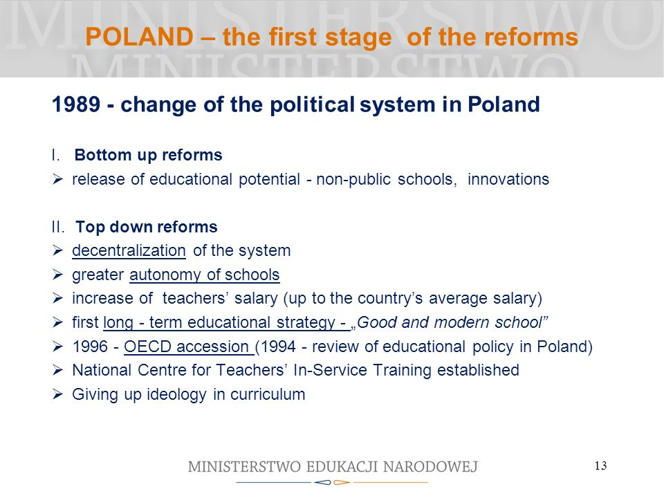 POLAND – the first stage of the reforms