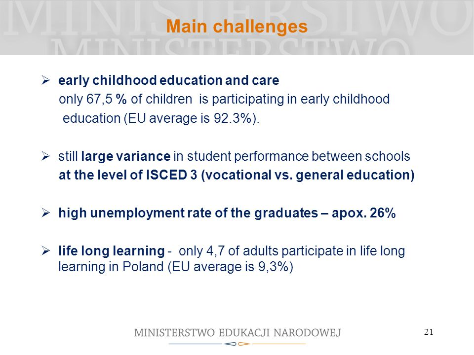 Main challenges early childhood education and care