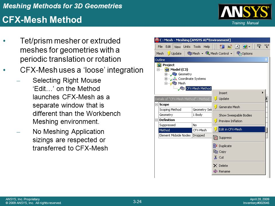 Chapter 3 Meshing Methods for 3D Geometries - ppt video online download
