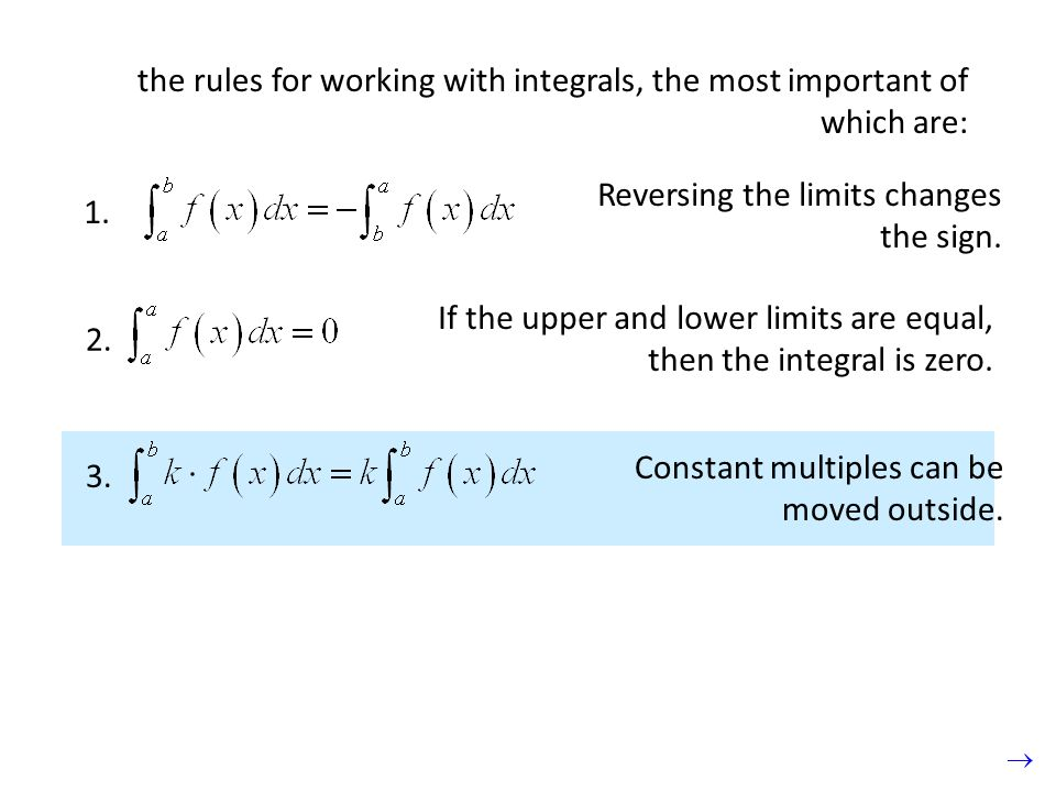 the rules for working with integrals, the most important of which are: