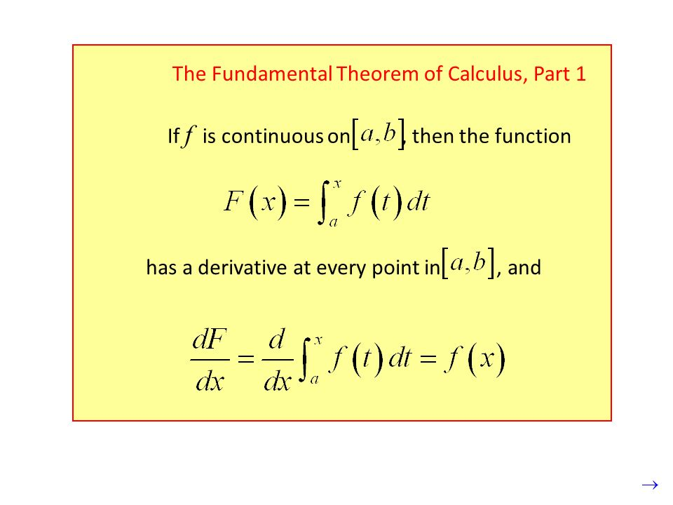 The Fundamental Theorem of Calculus, Part 1