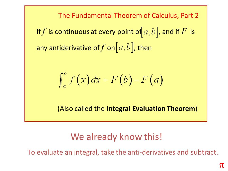 We already know this! p The Fundamental Theorem of Calculus, Part 2
