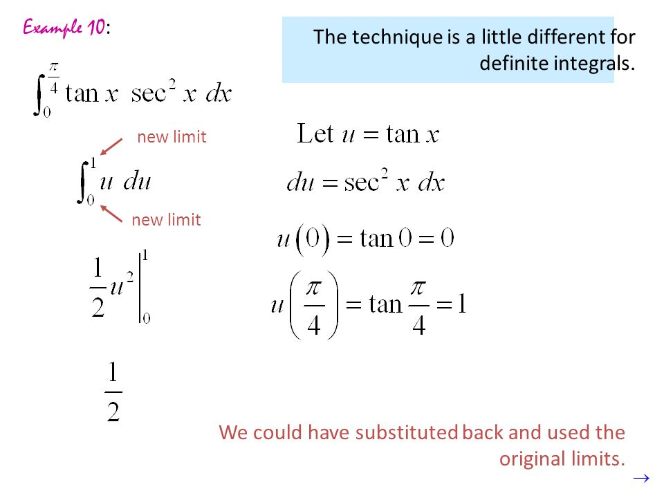 The technique is a little different for definite integrals.