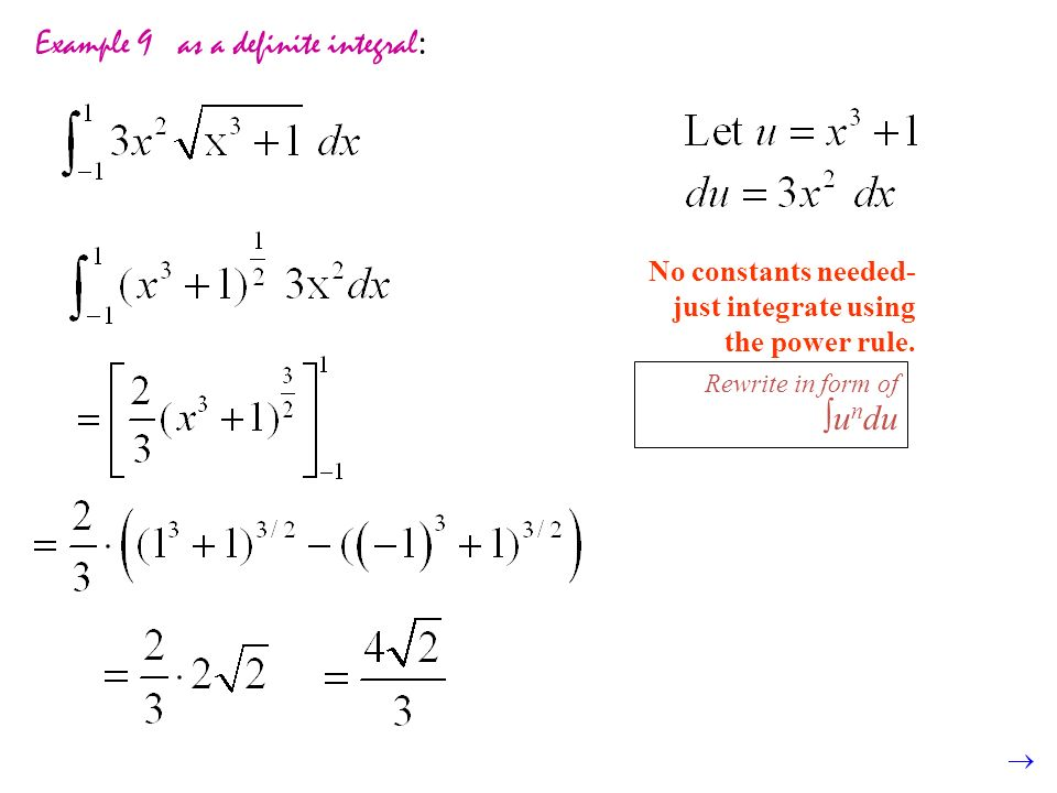 Example 9 as a definite integral: