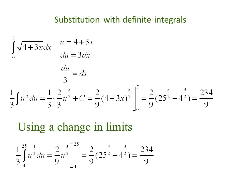 Substitution with definite integrals