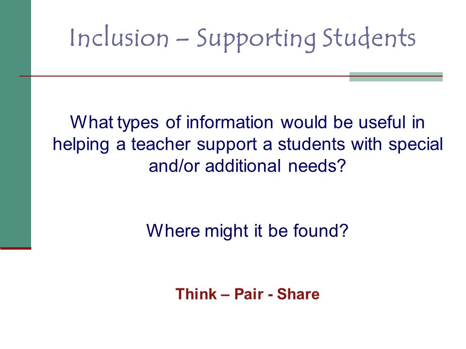 Inclusion – Supporting Students