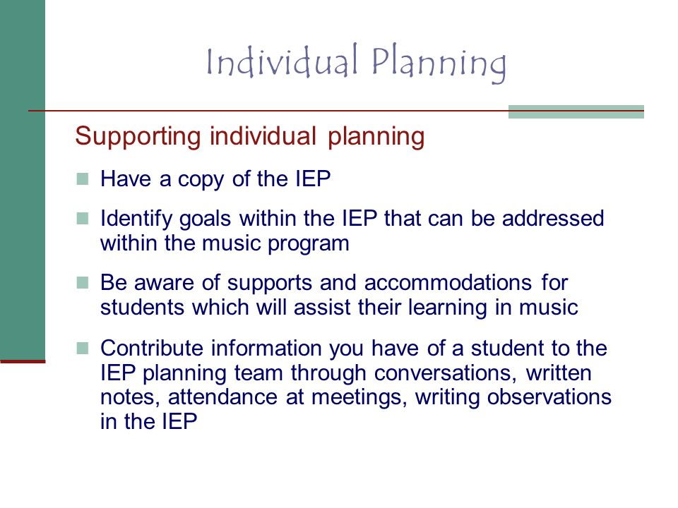 Individual Planning Supporting individual planning