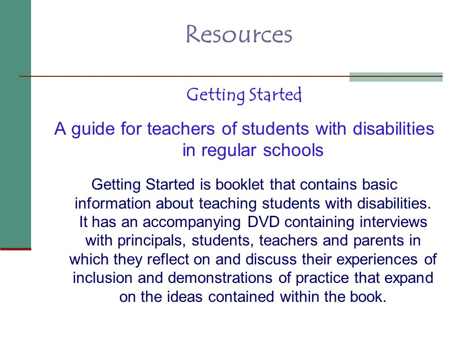 A guide for teachers of students with disabilities in regular schools