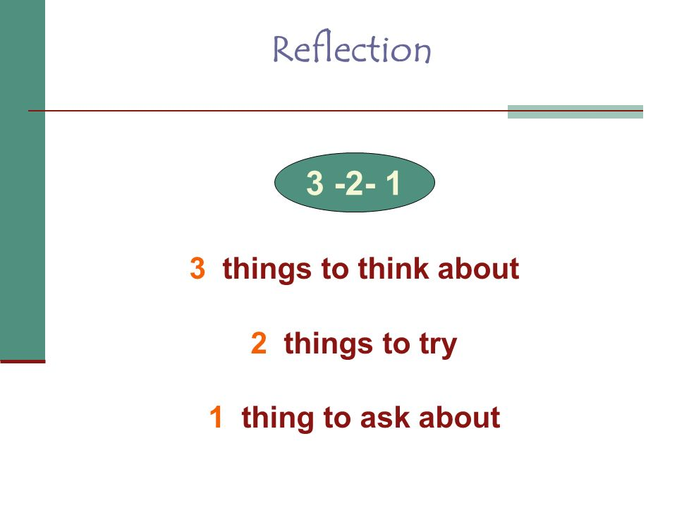 Reflection things to think about 2 things to try