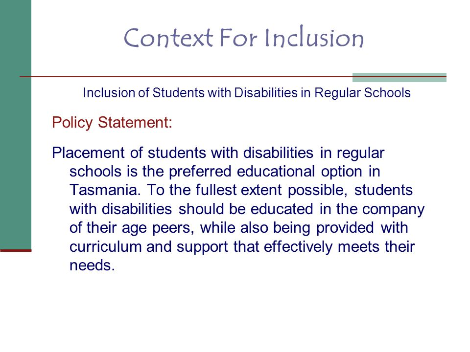 Inclusion of Students with Disabilities in Regular Schools